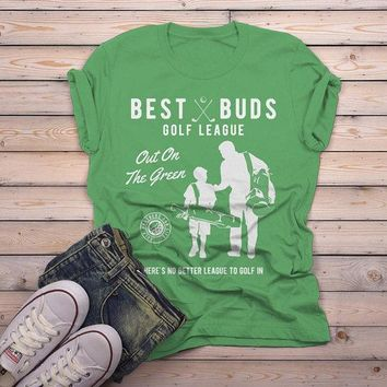 Men's Best Buds Golf League T-Shirt Matching Father Son Shirt Grandpa Tees