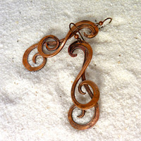 Copper Earrings - Crossing Waves