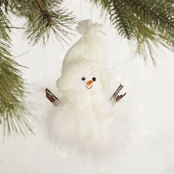 Natural Feathers Snowman Ornament