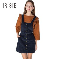 IRISIE Apparel Navy Blue Preppy A-line Dress Women Clothing Loose Single Breasted Female Vestido Casual Overall Mini Dress