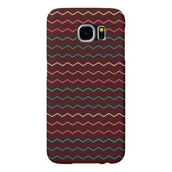 Colorful Abstract Chevron Zig Zag Pattern Samsung Galaxy S6 Cases