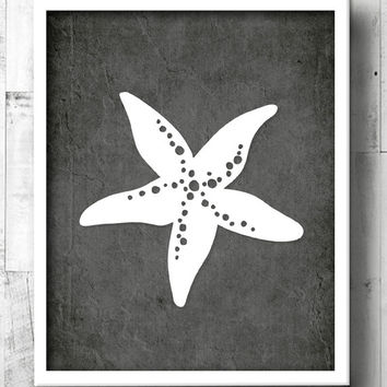 Starfish Bathroom Art - Tropical Bath Prints - Beach Bathroom Wall Art - Beachy Black & White Bathroom - Starfish Decor - Beach House Art