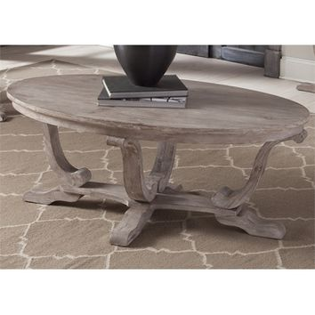 Liberty Greystone Mill Oval Cocktail Table In Stone White Wash w/ Wire brush