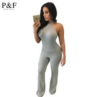 Rompers Women Jumpsuit 2016 New Fashion Solid Color Sleeveless Sexy Backless Loose Full Length Knitted Bodycon Jumpsuits gray