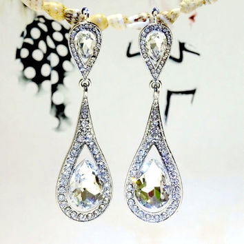 Rhinestone Silver Austria Crystal Retro Wedding Prom Gauges Plugs