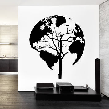 Wall Decal World Map Tree Cool Abstract Vinyl Sticker (z3248)