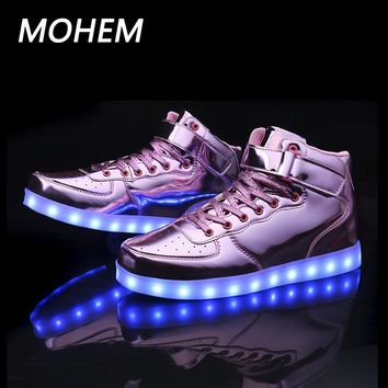 7colors led luminous shoes for boys girls fashion light up casual kids Outdoor child's shoes Sport casual shoes sneaker 25-40