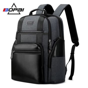 BOPAI New Nylon Men Backpack Black Grey Large Travel Backpack Bag for Men Waterproof Laptop Backpack 15.6 Inch Women suitable