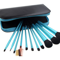 11-pcs Blue Black Zippers Makeup Brush Sets [9647069839]