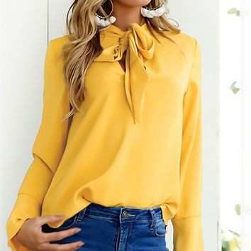 Charging Ahead Long Flare Sleeve Tie Neck Blouse - 4 Colors Available