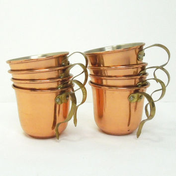 Copper cups with brass handles - Espresso cups or mini coffee cups - Restaurant decor - Coffee shop decor (Set of 8)