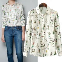 Floral Shirt Collar Chiffon Long Sleeve Blouse