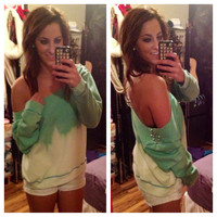 Studded Dip Dyed Ombré Mint Green Off the Shoulder Sweatshirt