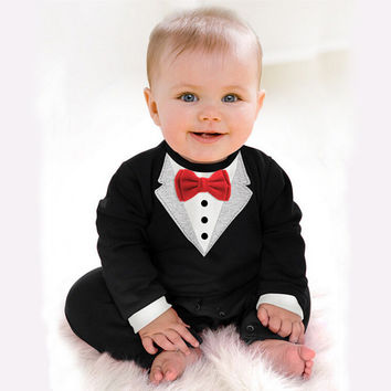 2017 New Newborn Baby Rompers Clothing Children Boys Clothes Tie Gentleman Bow Leisure Toddler One-pieces Jumpsuit