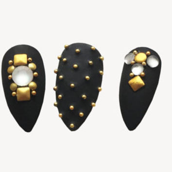 HEAVY METAL Press On Nails | Fake Nails | False Nails | 3D Nail Art Design | Glue On Nails | Metal studded | Matte |Baroque