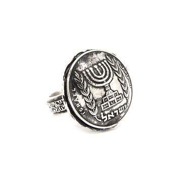 Israel coin ring - Old coins - A Half Israeli Lira