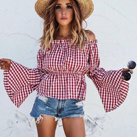 Off Shoulder Trumpet Sleeve Plaid Shirt B0013482