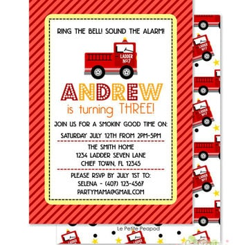 "Firetuck Invitations - Personalized 5 x 7"" - Double-Sided and Printed Birthday Invitations - Firefighter Birthday Party"