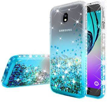 Samsung Galaxy J3 (2018) / Express Prime 3 / J3 Achieve / J3 Star / SM-J337A Case Liquid Glitter Phone Case Waterfall Floating Quicksand Bling Sparkle Cute Protective Girls Women Cover for Galaxy J3 (2018) - Teal