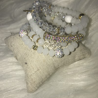 Clouded Beauty Beaded Accent Stack Bracelet