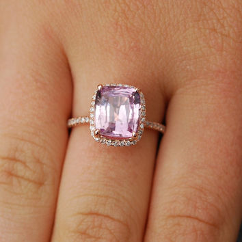 Sapphire Engagement Ring 14k Rose Gold Diamond Ring 3.4ct Cushion Mauve Blush Ice Peach Champagne Sapphire