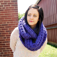 Oversized Loop Scarf in Indigo Blue // Extra Chunky Blue Knit Infinity Scarf // Knitted Royal Blue Big Long Cowl