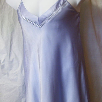 Chemise Night Gown, Periwinkle Blue Satin, By Elna, US Size XS Small, Bridal Honeymoon, Sexy Night Gown, Resort Cruise Wear