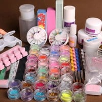 350buy 36 Acrylic Powder Primer UV Liquid Nail Art Tip Dust Strip Hexagon Kits Set