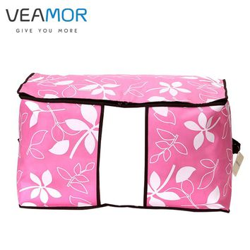 VEAMOR Flowers Printed Non-woven Quilts Storage Boxes for home Organization Plus Size Finishing Storage Boxes with Windows Bags
