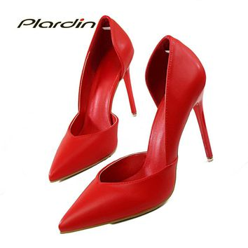plardin 2017 Summer Shoes Woman Sweet Women Party Wedding  Shallow Mouth Cut Out Two Piece ladies shoes Thin High Heel Pumps