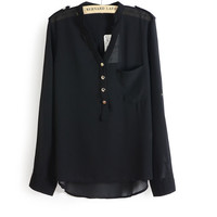 Long-Sleeve Button-Up Chiffon Shirt