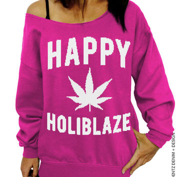 Happy Holiblaze - Pink Slouchy Oversized Sweatshirt