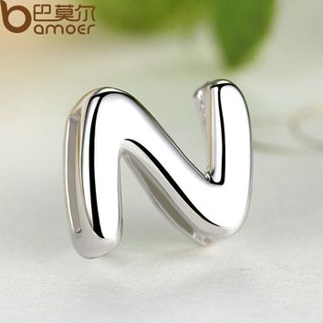 Jewelry 925 Sterling Silver Simple N Alphabet Letter Pendant Necklace for Women with White Gold Color SCN024-N