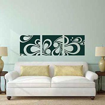 Paisley Floral Frames Set of 3 Vinyl Wall Decal Sticker Graphic