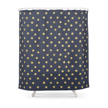 Society6 Gold Dots On Blue Shower Curtains