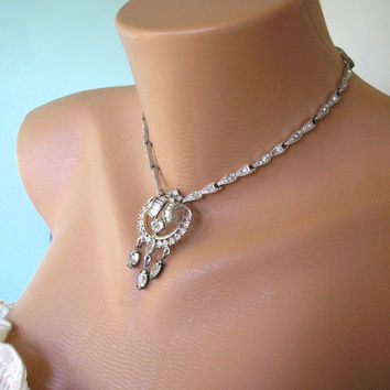 Great Gatsby Jewelry, Art Deco Jewelry, Downton Abbey Jewelry, Crystal Choker, Bridal Necklace, Rhinestone Choker, Diamante Necklace Sparkly