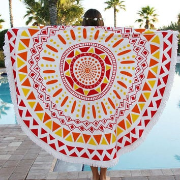 Red Pain Behind Beauty Beach Towel