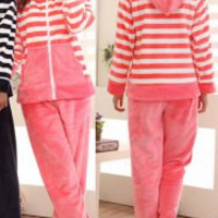 Chic Striped Hoodie and Pants Fleeced Pajama Twinset For Women