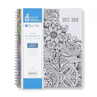 "Blue Sky ""Mandala"" CYO (Create Your Own) Cover 7 x 9 Weekly/Monthly Planner, Jul 2017 to Jun 2018"