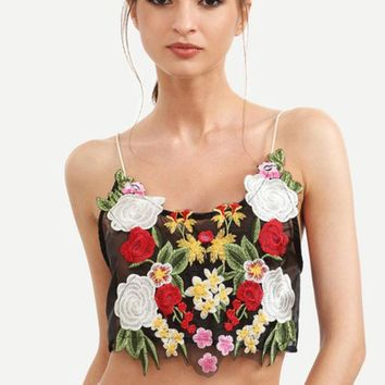 Multicolor Flower Embroidered Crop Cami Top