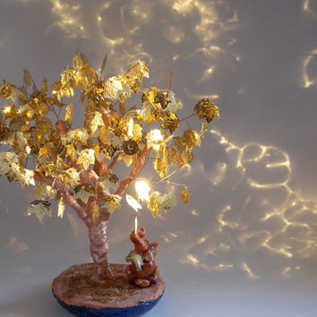 Money tree, Gold Tree, Beads tree, Tree, Dream tree, Wishing tree, Brass leaves, Twisted wire tree, Tree sculpture, Wire tree, Gold, Gift