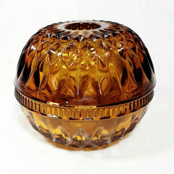 Vintage Indiana Glass Mt. Vernon Fairy Lamp/Amber Glass Candle Holder/Diamond Cut Glass