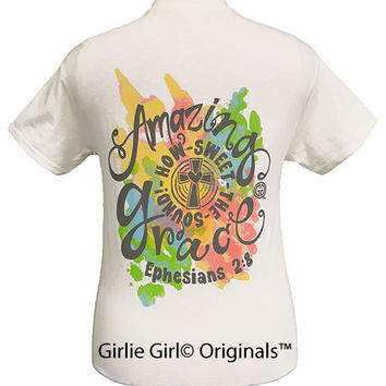 Girlie Girl Originals Amazing Grace White Short Sleeve Unisex Fit T-Shirt