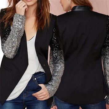 Women Thin Jacket Coat Spring Autumn Long Sleeve Lapel Fashion Silver Black Sequin Elegant Slim Work Blazers Suit Feminino