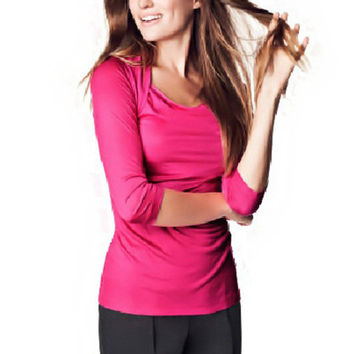 Long Sleeve Ruched Bodycon Top