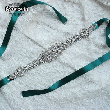 Kyunovia Crystal Wedding Belts Satin Rhinestone Wedding Dress Belt Wedding Accessories Bridal Ribbon Sash Belt FB19