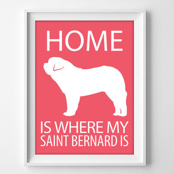 "8x10"" Saint Bernard Art, Saint Bernard Print, Saint Bernard Gift, Pet Wall Art Print, Saint Bernard Decor, Beethoven Dog, Saint Bernard Dog"