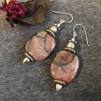 Red Picture Jasper Earrings Handmade Dark Red Maroon and Black Gemstone Drop Earrings Accented With Fancy Sterling Silver Beads Gift For Her
