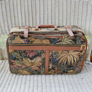 Vintage Tapestry and Leather Suitcase Boyt Luggage Weekender Bag Tropical Print Luggage