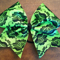 Cheer Bow - Neon Green and Lace
